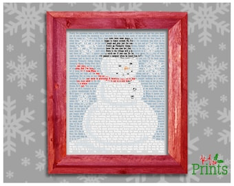 Christmas Print, Snowman Print, Snowman Songs, Christmas Decor, Holiday Decor, Instant Download, Digital Printable, 8x10