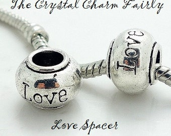 European Charm ~ LOVE SPACER ~ Silver Plated Bead Big Hole Charm Fits Large Hole / European / PANDORA / Bracelets / Necklace