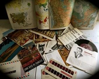 50 Piece Travel Transportation Ephemera/Collage/Art Journaling/Papercraft Kit