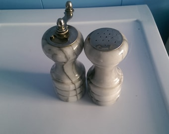 Vintage Salt and Pepper shakers Marble
