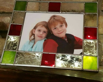 Christmas stained glass picture frame