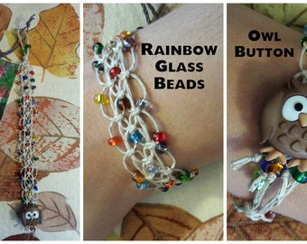 Owl Lace Hemp Bracelet Rainbow