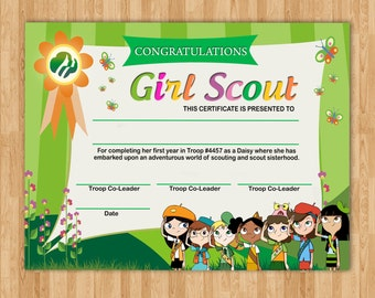 Girl scout award etsy for Girl scout award certificate templates