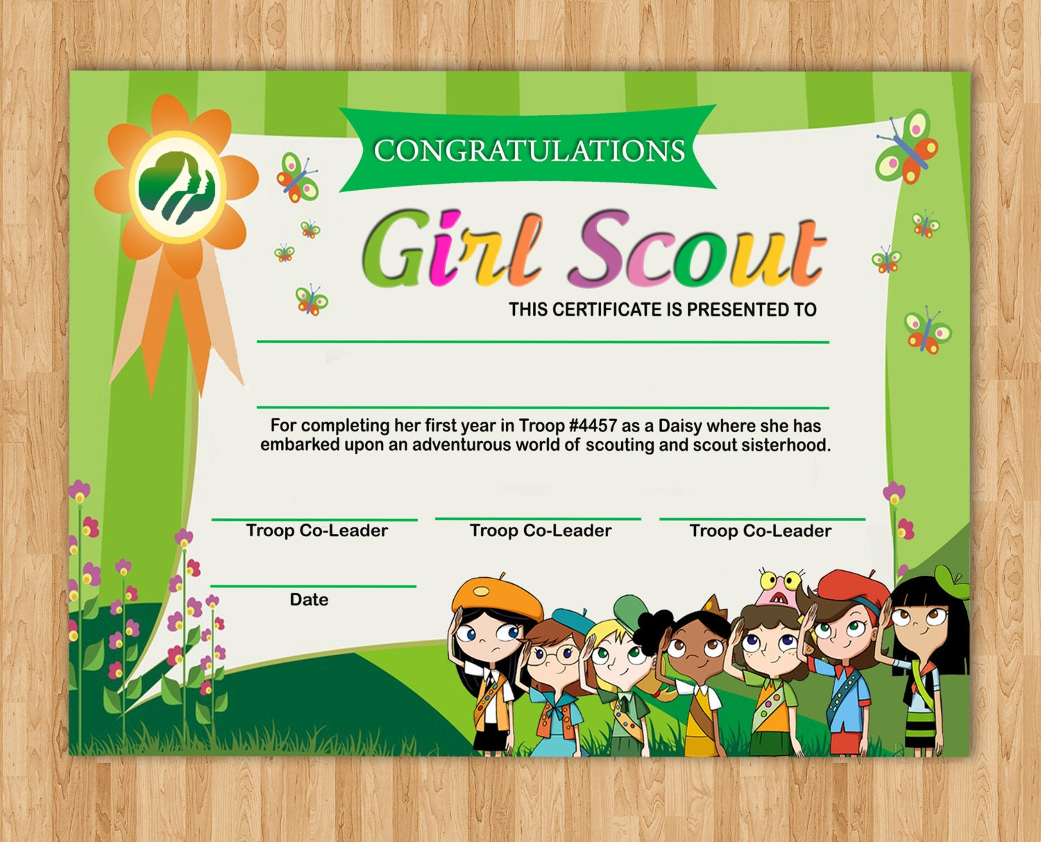 It is a graphic of Breathtaking Girl Scouts Certificates