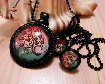 Jewellery set necklace earrings cabochon tree of life