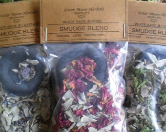 Smudge - Loose Incense Blends - White Sage - Cedar - Lavender - Rose - Crystal Blessed - 1/2 oz.