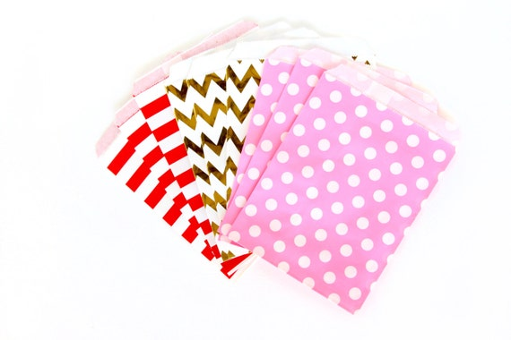 Roses Are Red Treat Bags in Chevron Dot and Stripe , Pink Red Treat Bags, Silver Popcorn Glitter Valentines Day Decor