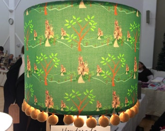 Stunning Emerald Green Enchanted Forest Handmade Pom Pom Trim Lamp Shade
