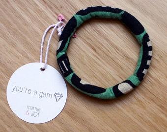 green and black retro fabric stuffed bracelet