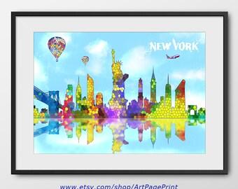 New York Skyline Print, New York Cityscape, New York Gift, New York Modern, Decor New York Colorful, New York Poster (A0462)