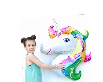 "Unicorn Balloon, Rainbow, 34"", Unicorn, Unicorn Party, Crazy Unicorn,Uni Party, Birthday Decoration, Unicorn Balloons, Decoration, Party Dec"