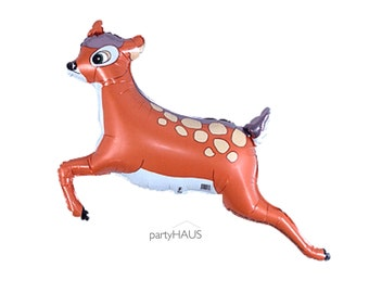 """Deer Balloon, 28"""", Bambi Balloon, Fawn, Deer, Woodland Party, Balloons, Princess Party, Knight, Baby Shower, Birthday, Decoration"""