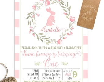 Bunny 1st Birthday invitation - 2nd, 3rd, 4th, 5th birthday - watercolor - TK_A179
