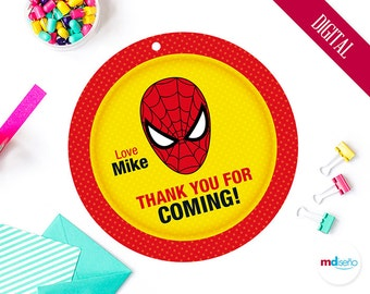 Spiderman PRINTABLE Favor Tag Thank You For Coming! Spiderman Party