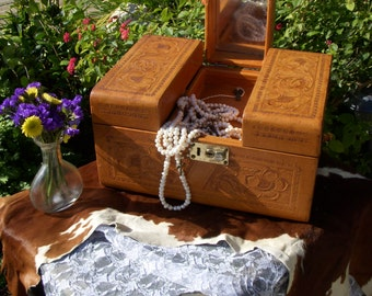 Vintage Tooled Leather Train Case For Cosmetics or Jewelry