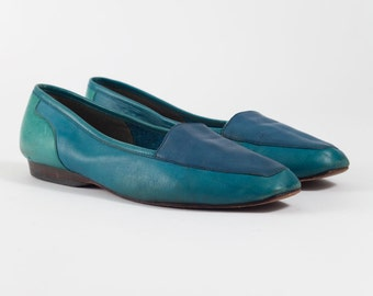 Vintage Blue Enzo Angiolini Shoes | 80's Slip-on Loafers Flats | Women's Size 5.5