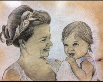 Custom portrait illustrations on wood