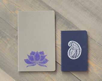 Moleskine Cahier notebooks, Travel journals, Yoga journals, Lotus flower, Paisley, Block printed notebooks, Travelers notebook, Yoga gifts