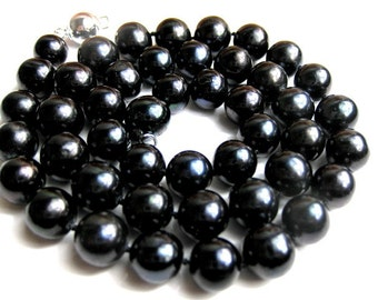Larger 11mm AAA- Lustrous Deep Black Freshwater Pearl Necklace -nk9