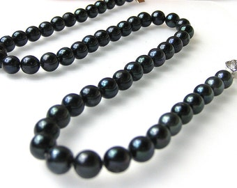 7.5mm Black Cultured Akoya Pearl Necklace -nk15