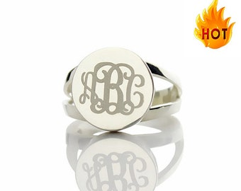Silver Monogram Ring, Personalized Silver Monogram Rings, Personalized with Your 3 Initials, Silver Monogram Rings