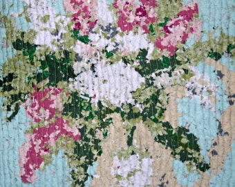 Quilted Wall Hanging, Art Quilt, Fabric Art, Spring Blossoms, Confetti-Style Quilt, Impressionist Flowers, Spring Pastels, Shabby Chic