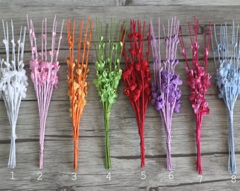 Bunch of 10-Flowers with Wire Stems,Miniature for Wedding Corsage,Artificial Branch,Spray Silk Flower Pip Berry Stems,Wedding Decor