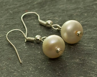 Jewelry for Bema White Pearl and Silver Earrings