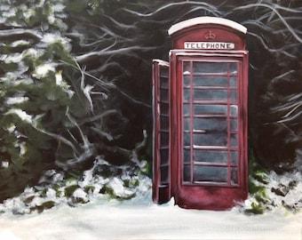 Original acrylic painting, landscape painting, snow painting, winter painting, winter landscape, nostalgic art, original art