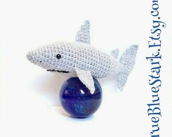 Shark stuffed toy handmade crochet Made to order