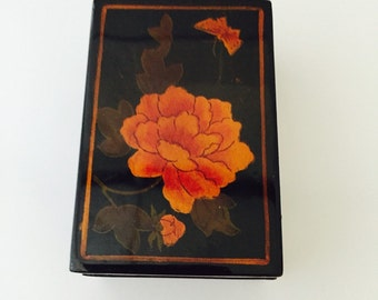 Butterfly and Flower Box, Lacquered black box with lift off lid