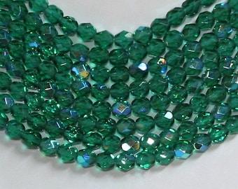 Firepolished Bead 6mm - AB - Emerald