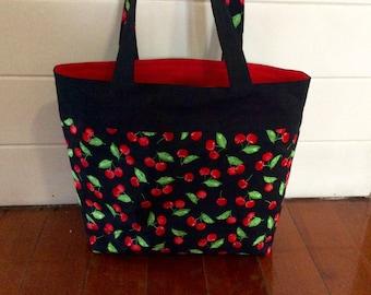 Retro Kiss the Cook Cherries tote