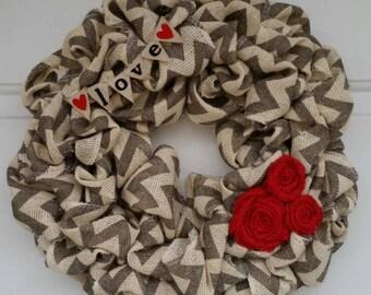 Valentine wreath / burlap wreath / chevron wreath / Love burlap wreath / valentine chevron wreath