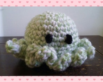 octopus plushie rattle - green and white