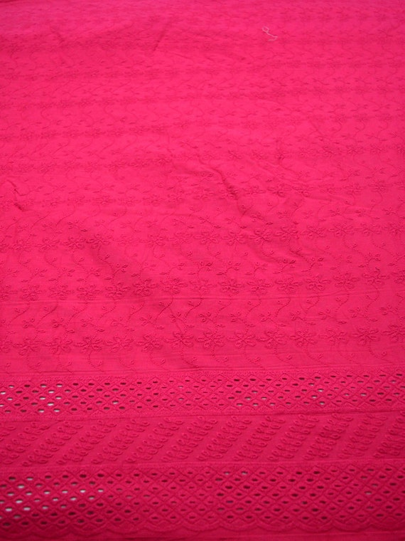 Magenta eyelet fabric embroidered cotton by the