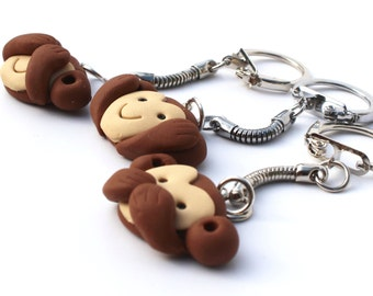 Best friend necklaces 3 bff monkey friendship necklace 3 way friendship necklace 3 way bff charms 3 wise monkeys see no evil monkey bagcharm