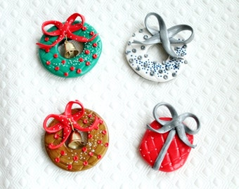 Polymer clay Christmas fridge magnets (choose one)