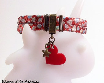 Bracelet leather Red Heart