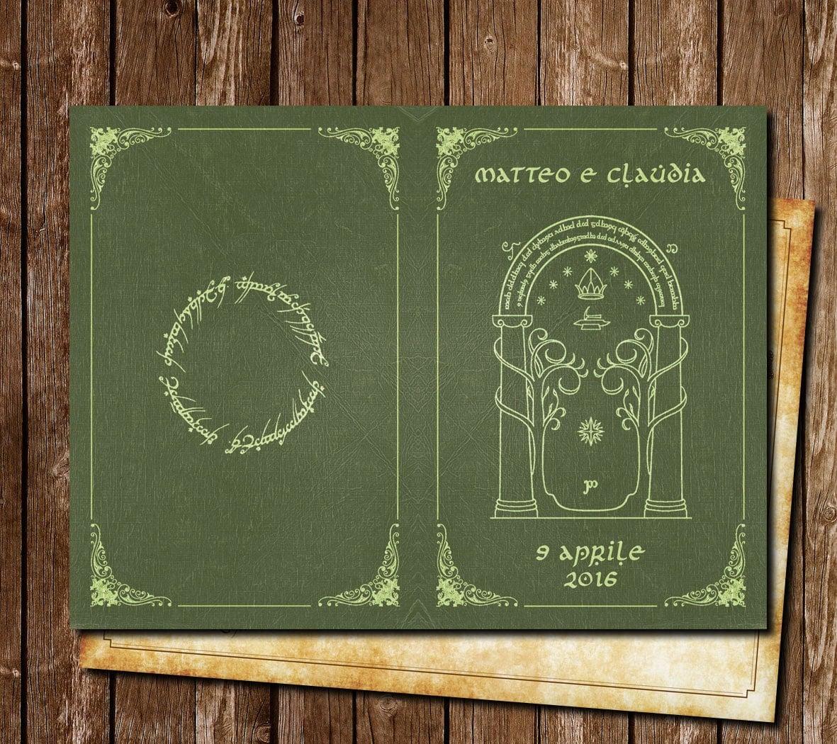 Matrimonio Tema Signore Degli Anelli : Partecipazione matrimonio stile signore degli anelli lord