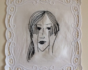 Shame (2016). Embroidery art illustration drawing girl