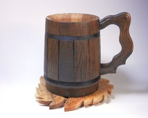 Oak Mug 0.5l-traditional containers for beer lovers! Oak ,original ecological Wood. Beer mug made by hand from natural wood oak