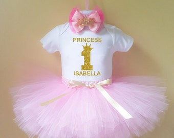 Princess 1st Birthday Outfit , 1st Birthday Girl Outfit , First Birthday Outfit , Birthday Princess tutu Outfit, Pink and Gold 1st Birthday