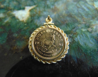 Rare Gold Krugerrand Coin Pendant, Gold Coin Jewelry