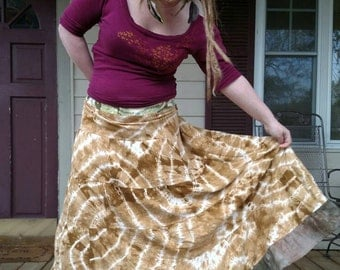 Tiered Raw Silk Tie Dye Spinny Skirt Festival Maxi Skirt Hippie Patchwork Hand dyed