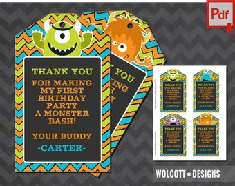 Little Monster Party Favor Tags, Little Monster Favor Tags, Monster Thank You Tags, Little Monster Party Tags