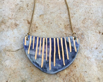Porcelain shield necklace
