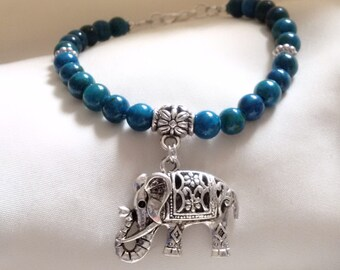 Bracelet - Elephant Bracelet - Elephant Charm Bracelet - Azurite Bracelet - Blue Bracelet - Peace Bracelet -