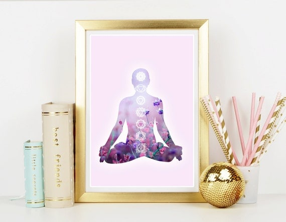 Meditation art print home decor hippie art print art for Hippie home decorations