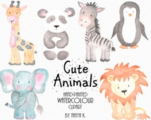 Watercolour Animals Clipart, Commercial Use, Watercolour Clipart, Cute Animals Clipart, Watercolour Animals Clip Art,  Hand-painted Clipart